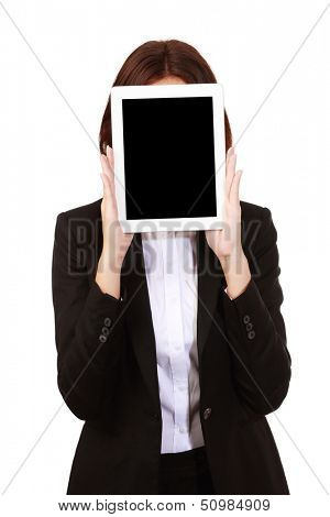 Woman covering her face with tablet computer