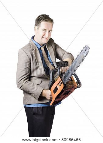 Businessman Holding Chainsaw