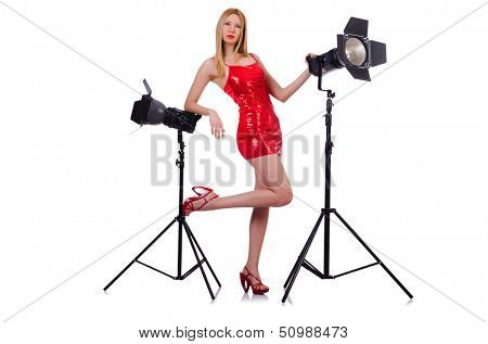 Woman in studio shoot-out