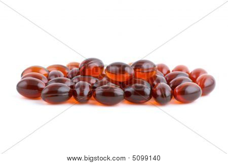 Small Pile Of Lecithins Capsules
