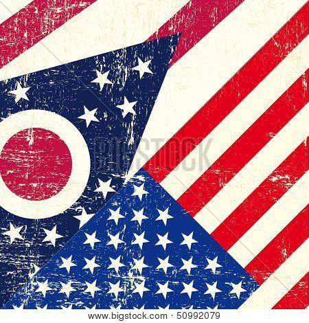 Ohio and USA grunge Flag