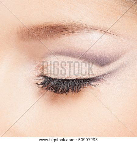 Macro image of the closed female eye with the makeup