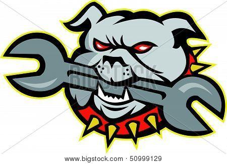 Bulldog Dog Mongrel Head Mascot