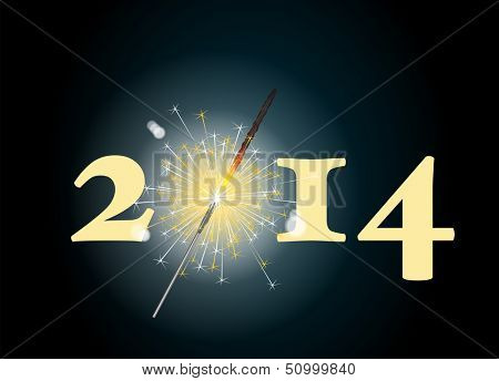2014 banner with the zero being depicted by a glowing sparkler. EPS10 vector format.