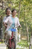 stock photo of tandem bicycle  - Older couple riding tandem bicycle - JPG