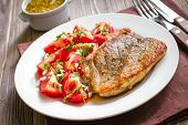 picture of shoulder-blade  - Meat steak with vegetables on a plate - JPG