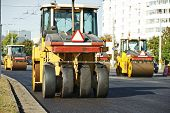 Pneumatic tyred roller compactor at asphalt pavement works for road repairing
