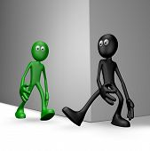 foto of yucky  - black guy tries get green guy to stumble  - JPG