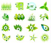 stock photo of environmental pollution  - Set of eco leaf infographic design templates - JPG