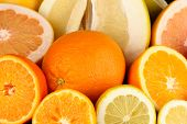 stock photo of pamelo  - Lots ripe citrus close - JPG