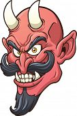 Smiling devil head. Vector clip art illustration with simple gradients. All in a single layer.
