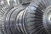 stock photo of hydroelectric  - Internal rotor of a steam Turbine at workshop - JPG