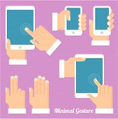 Tablets and gadgets with touch-screen display held in hand. Touch screen gestures icon set.