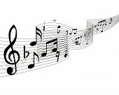 image of musical note  - Musical notes stuff vector background for use in design - JPG