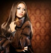 picture of mink  - Beauty Fashion Model Girl in Mink Fur Coat - JPG