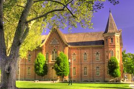 image of tabernacle  - A religious building called the Provo Tabernacle in a park in Provo Utah - JPG