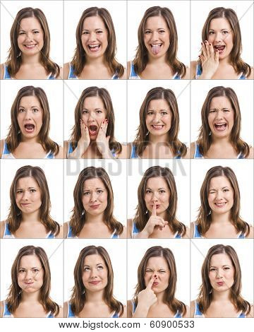 Multiple portraits of the same girl with different expressions