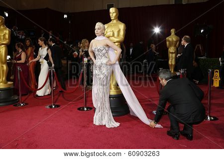 LOS ANGELES - MAR 2:: Lady Gaga  at the 86th Annual Academy Awards at Hollywood & Highland Center on March 2, 2014 in Los Angeles, California