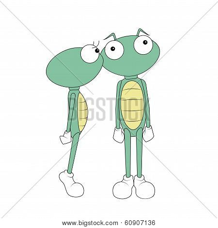 green kissing cartoon Martians