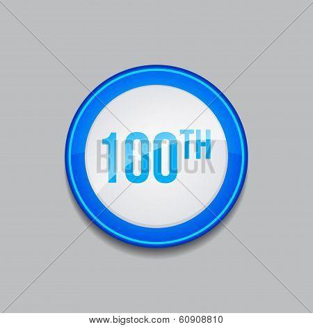 100th Circular Vector Blue Web Icon Button