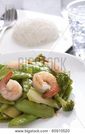 Stir Fried Snow Peas With Shrimp.