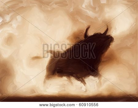 Painting of an angry bull with copy-space