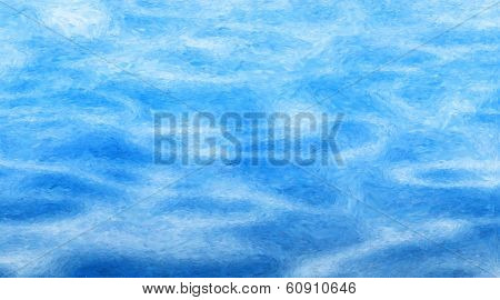 Impressionist style abstract painting of water ripples