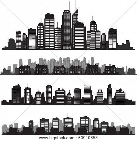 Black vector cityscapes silhouettes