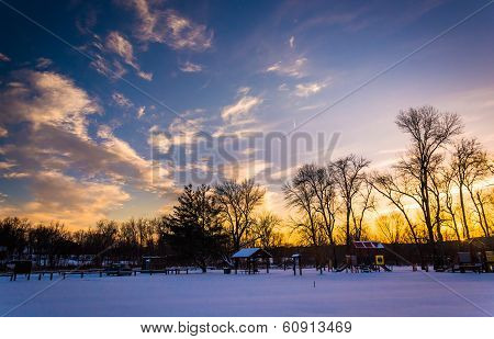 Winter Sunset Over Loy's Station Park In Frederick County, Maryland.