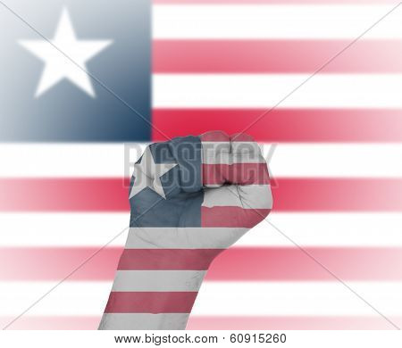 Fist Wrapped In The Flag Of Liberia