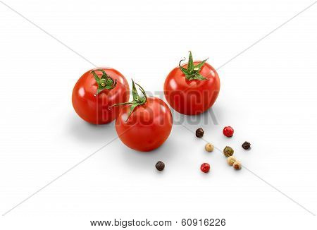 Ripe Tomatoes And Pepper - Isolated