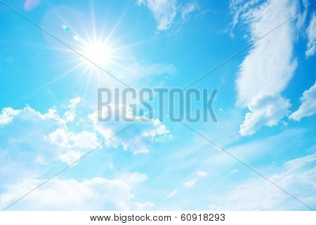 sunny sky background with tiny clouds