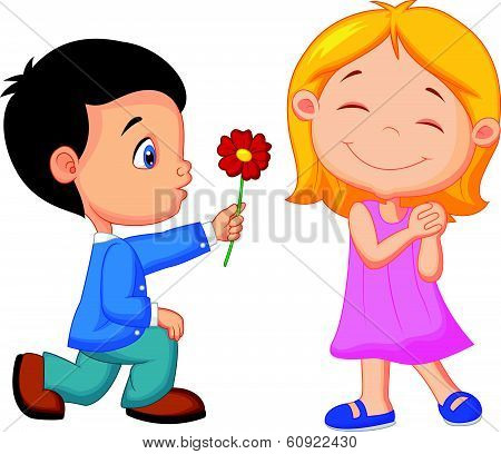 Cartoon Little boy kneels on one knee giving flowers to girl