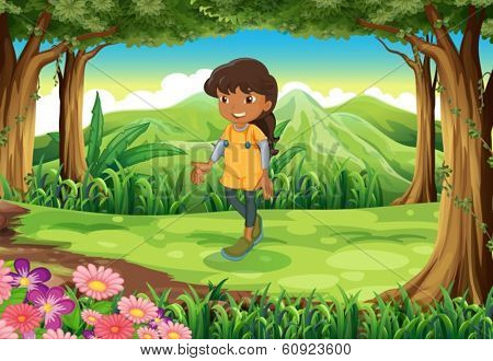 Illustration of a tan girl at the forest