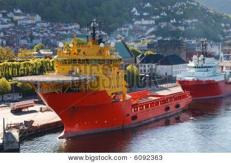 Oil Rig Supply Boat At Bergen Harbor, Norway