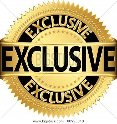 Golden Exclusive Label, Exclusive Gold Vector Illustration