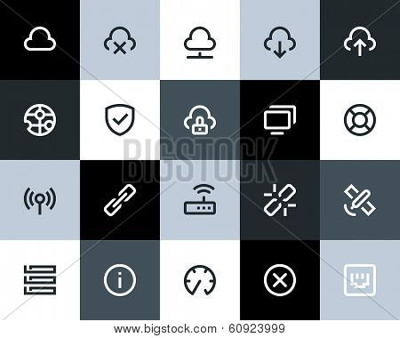 Wireless and network icons Flat