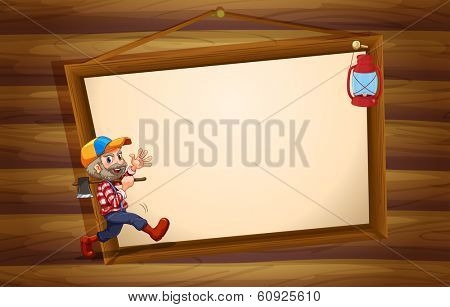 Illustration of a wooden template with a lumberjack and a lamp