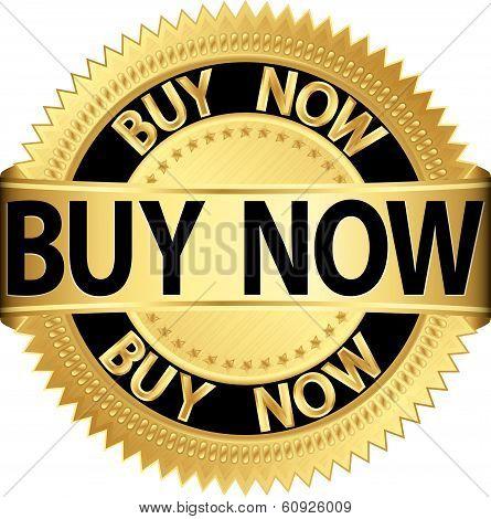 Buy Now Golden Label, Buy Now Vector Illustration