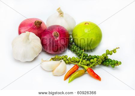 Thai Spicy Herbs On White Background