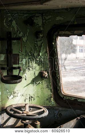 Abandoned rail-car cabin