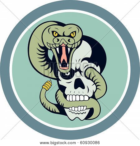 Rattle Snake Curling Around Skull Cartoon