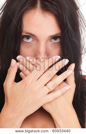 Young Woman Covering Her Mouth Both Hands Isolated