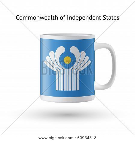 Commonwealth of Independent States flag souvenir mug on white background.