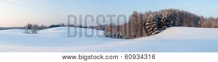 View To Beautiful Landscape In Winter