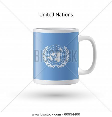 United Nations flag souvenir mug on white background.