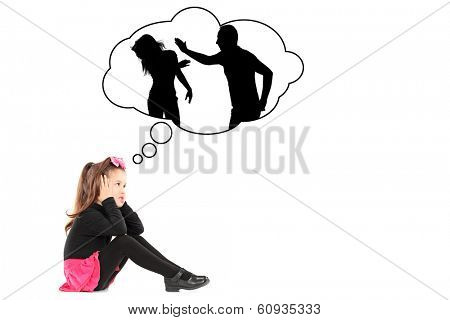 An illustration of a traumatized little girl recalling her parents fighting isolated on white background