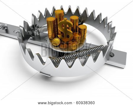 Metal animal trap open with money.