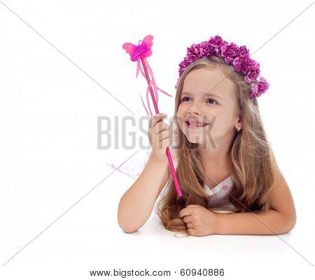Happy spring fairy with purple flower crown and magic wand - isolated