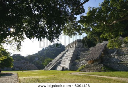 Temple Of Inscriptions. Ruins Of Ancient Mayan City In Palenque, Chiapas, Mexico